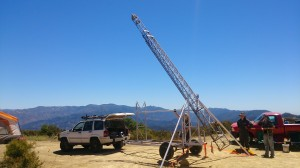 Raising the tower to replace the broken winch.