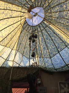 The parachute dome, with new lights and wind chimes.